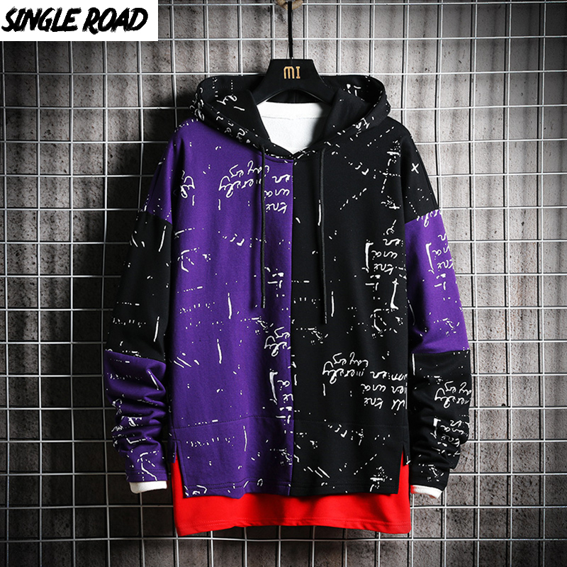 SingleRoad Men's Hoodies Men Patchwork Sweatshirt Male Harajuku Japanese Streetwear Hip Hop Oversized Black Purple Hoodie Men