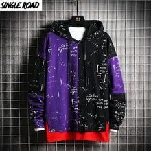 SingleRoad Mens Hoodies Men Patchwork Sweatshirt Male Harajuku Japanese Streetwear Hip Hop Oversized Black Purple Hoodie Men