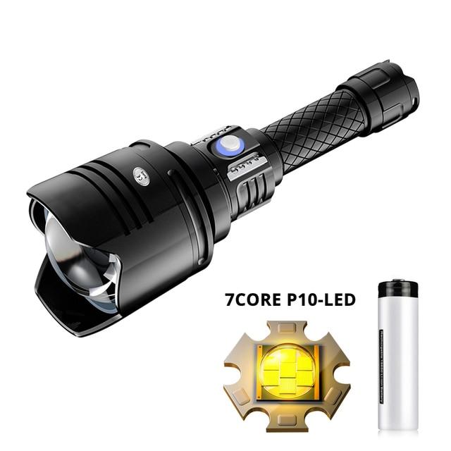 Süper güçlü 7 çekirdek P10 LED el feneri USB şarj edilebilir taktik fener zum Torch Linterna kullanımı 18650 pil açık Lanterna