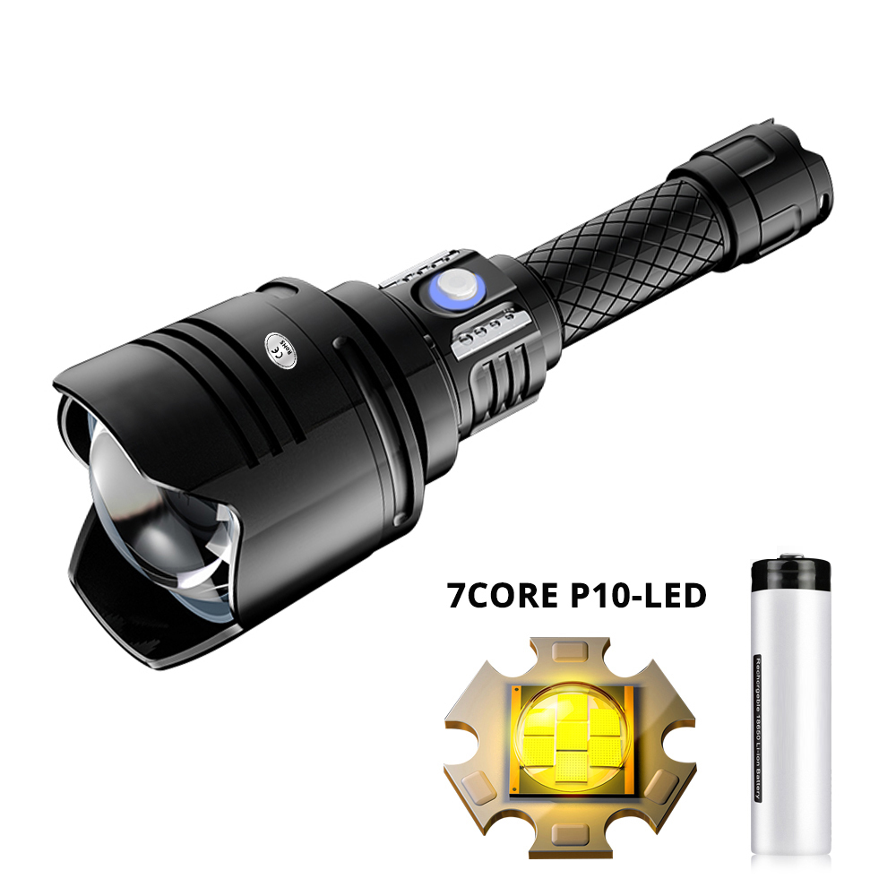 Super Powerful 7Core P10 LED Flashlight USB Rechargeable Tactical Lantern Zoom Torch Linterna Use 18650 Battery Outdoor Lanterna