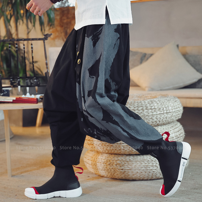 Japanese Harajuku Style Wide Leg Harem Pants Men Chinese Homme Loose Trousers Ukiyo-e Crane Samurai Haori Bottoms Asian Clothes