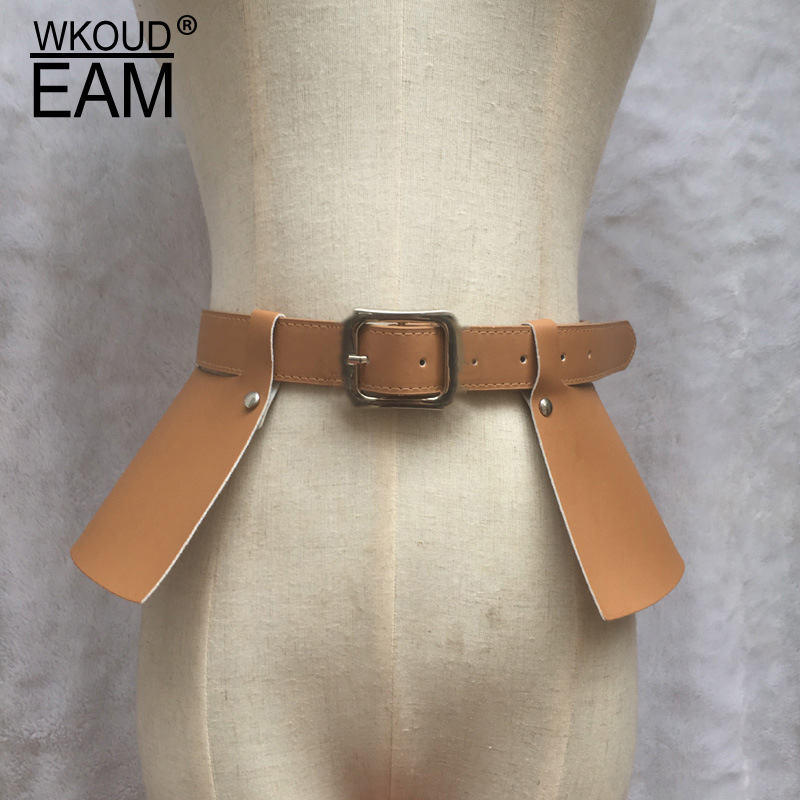 WKOUD EAM 2020 New Lady Leather Skirt Waistband Temperament Solid Color High Quality Belt Designer Brand Belt PE204