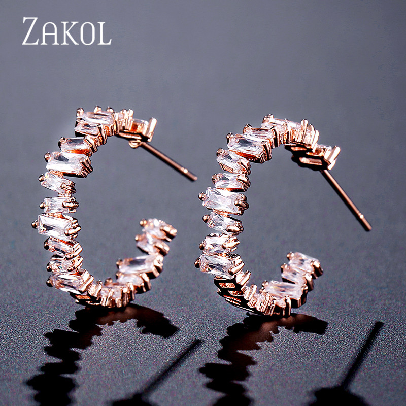 ZAKOL Trendy AAA Baguette Cubic Zirconia T Stone Hoop Earrings For Women Fashion Circle Bridal Wedding Accessories FSEP2174