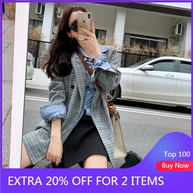 Mishow 2020 Spring Blazer Women New Outwear Office Ladiy Style Button Plaid Jacket Turn Down Collar Elegant Suit MX20A6189