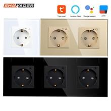 Wifi Smart EU Wall Socket 16A Crystal Glass Electrical Plug Outlet Plate Panel Switch Remote work with Tuya Alexa Google Home