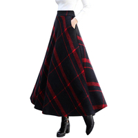 Free Shipping 2019 New Fashion Long Maxi Thick A line Skirts For Women Elastic Waist Winter Plaid Woolen Skirts Warm With Pocket