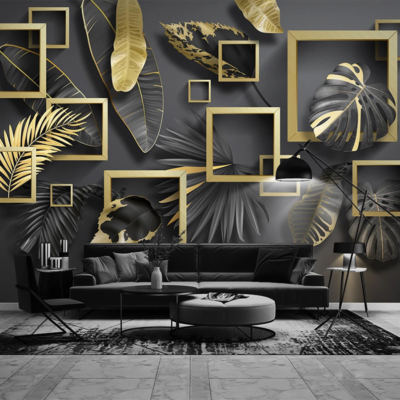 Custom 3D Photo Wallpaper Murals Modern Creative Golden Leaf 3D Stereoscopic Geometric Living Room Sofa TV Background Wall Mural