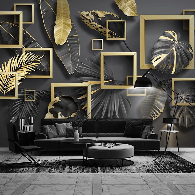 Custom 3D Photo Wallpaper Murals Modern Creative Golden Leaf 3D Stereoscopic Geometric Living Room Sofa TV Background Wall Mural