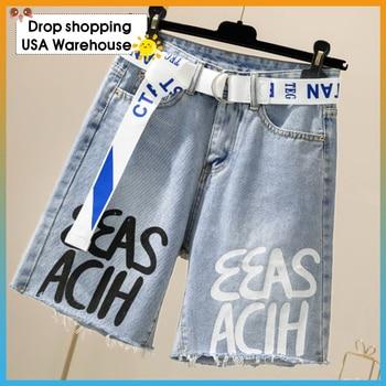 Denim shorts female summer loose Korean students high waist slimming denim straight five-point pants short women