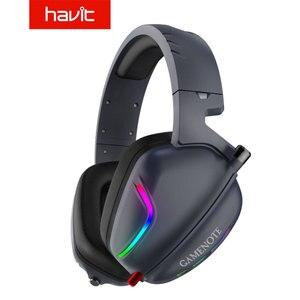Игровая гарнитура Havit 7,1, наушники с микрофоном для ПК, компьютера, Xbox One, профессиональный геймер, объемный звук, RGB свет