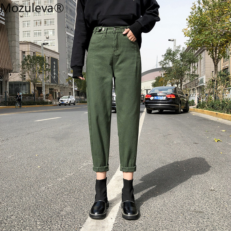 2020 Spring New Vintage High Waist Slouchy Green Cotton Mom Jeans Denim Harem Pant For Women Autumn Casual Ripped Trousers Femme