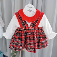 girls dress false two design cute plaid long sleeve toddler baby dresses 0 4years