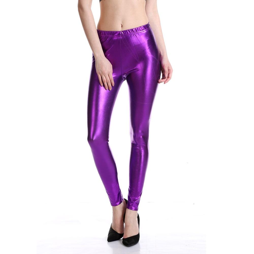 Womens Stretch Shiny Metallic Legging Ladies Novelty Wet Look Disco Skinny Pants