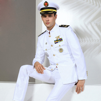 Quality US Standard Navy Uniform White military Clothes Men America Navy Formal attire White Military Suits Hat + Jacket + Pants