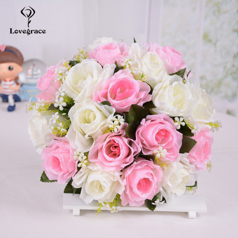 YO CHO Mini Bouquet Artificial Flower Silk Rose DIY Wedding Bouquet Fake Baby's Breath Girl Pink Rose Wedding Planner Supplies