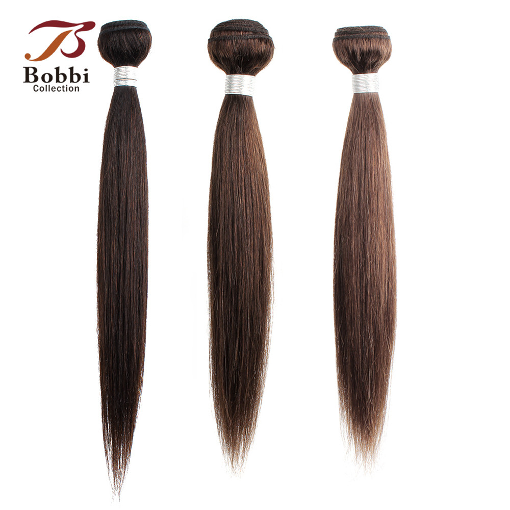 Bobbi Collection 1 Bundle Color 2 Dark Brown Indian Hair Weave Bundles Color 4 Straight Human Hair Weft Non-Remy Hair Extension