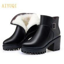 AIYUQI Booties 2019 New Genuine Leather Platform Heel Riding Boots Horse Wool Warm Winter Women Fashion High Banquet