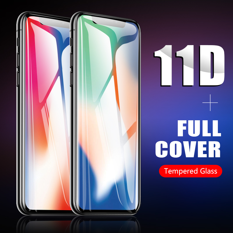 11D for iphone glass X xr screen protector original curved protective tempered glass film for iphone x xr glass-in Phone Screen Protectors from Cellphones & Telecommunications on