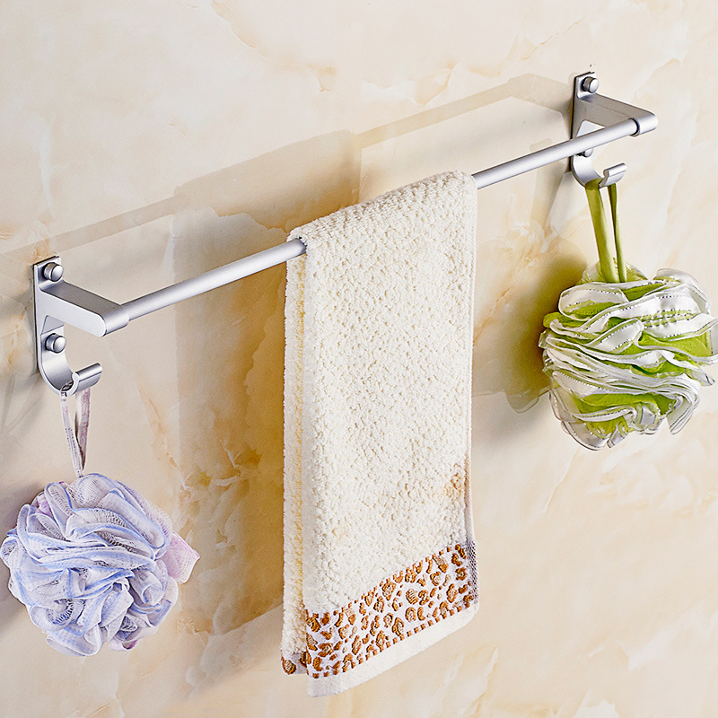 Hole-Punched Bathroom Towel Rack Alumimum Towel Rack Toilet Aluminium Alloy Double Poles Single Pole Towel Bar Hanging Rack
