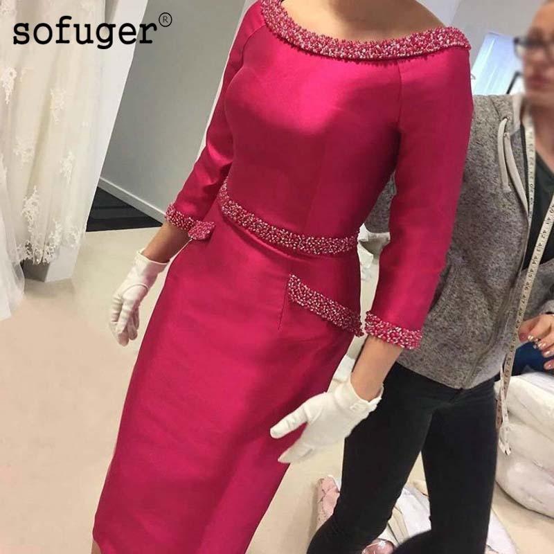 Fuschia Satin Sheath knee Length Mother of Bride Dress Three Quarter Sleeves Beading Woman Formal Wedding Party Gown