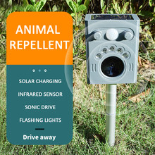 Nieuwe Outdoor Solar Power Ultrasone Pest Animal Repeller Motion Sensor Flash Licht Tuin Hond Kat Wasbeer Konijn Dier Verdrijver(China)