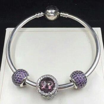 NEW 100% 925 Sterling Silver 791725NRP ROYAL PURPLE RADIANT HEARTS CHARM 791051CFP Fancy Purlple Pave Ball Charm Bracelet Set