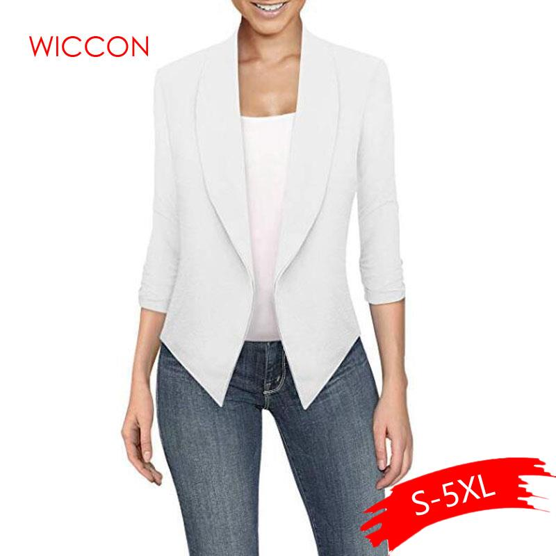 Women Fashion Blazers Female 2020 New Spring Summer Notched Long Seeved Solid Cardigan Irregular Hem 10 Colors 8 Size S-5XL