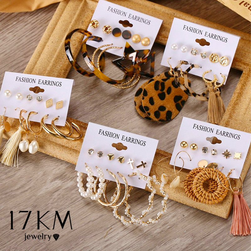 17KM Bohemian Tassel Earrings For Women Vintage Shell Pearl Drop Earrings Set Rattan Dangle Earring 2020 Brincos Acrylic Jewelry