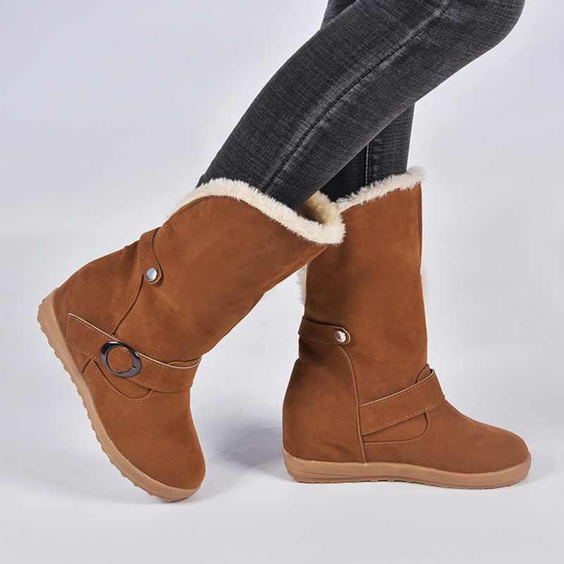 PUIMENTIUA botas de nieve de mujer cálido corto Flock Piel de felpa de invierno tobillo botas plataforma señoras gamuza Zip zapatos mujer comodidad