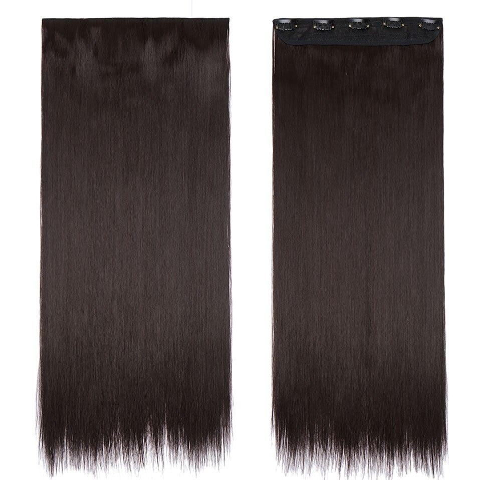 S-noilite, накладные волосы на заколках, черный, коричневый, натуральные, прямые, 58-76 см, длинные, высокая температура, синтетические волосы для наращивания, шиньон - Цвет: dark brown