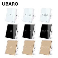 UBARO-Interruptor táctil de pared tipo EU/UK 86, Panel de cristal de lujo, interruptor de encendido y apagado, Mural, 1/2/3 Gang AC 100-240V