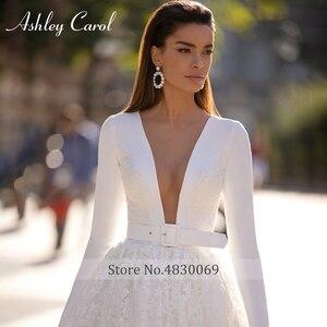 Image 4 - Ashley carol vestido de casamento de manga longa 2020 elegante cetim com decote em v frisado apliques de renda princesa vestido de noiva