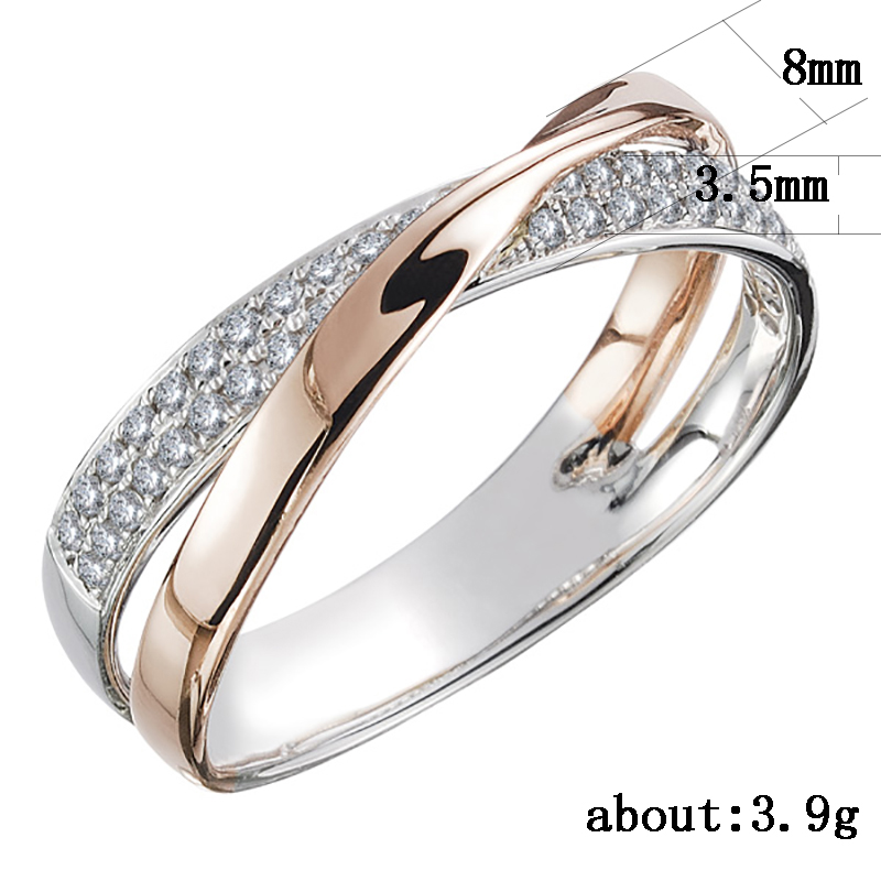 Huitan Newest Fresh Two Tone X Shape Cross Ring for Women Wedding Trendy Jewelry Dazzling CZ Stone Large Modern Rings Anillos