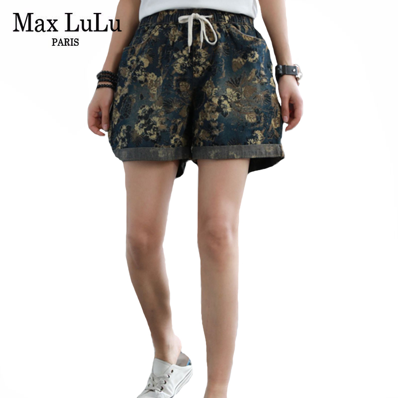 Max LuLu 2020 Summer Fashion Korean Ladies Vintage Floral Jeans Womens Casual Loose Shorts Pants Female Oversized Denim Trousers