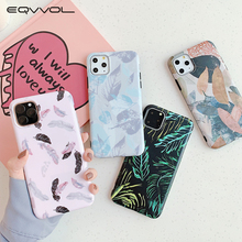 Eqvvol Pink Feather Leaf Case For iPhone11 Pro Max Cover