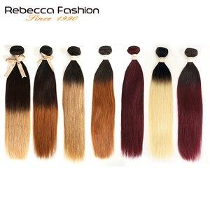 Rebecca Ombre бразильские прямые волосы 1/3 пучка два трех тона Remy человеческие волосы пучки предложения 1B/4/27/30/99J/613 блонд