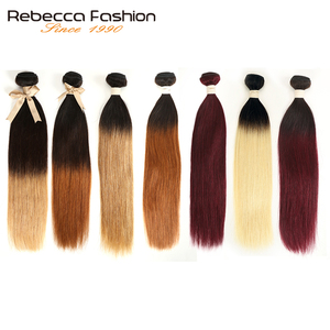 Rebecca Ombre Brazilian Straight Hair 1/3 Bundles Two Three Tone Remy Human Hair Bundles Deals 1B/4/27/30/99J/613 Blonde