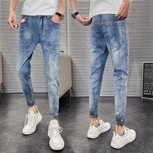 Корейский мужские джинсы стрейч тонкий Fit мода мыть сплошной цвет случайные брюки мужчины уличная одежда хип-хоп ретро джинсовые брюки