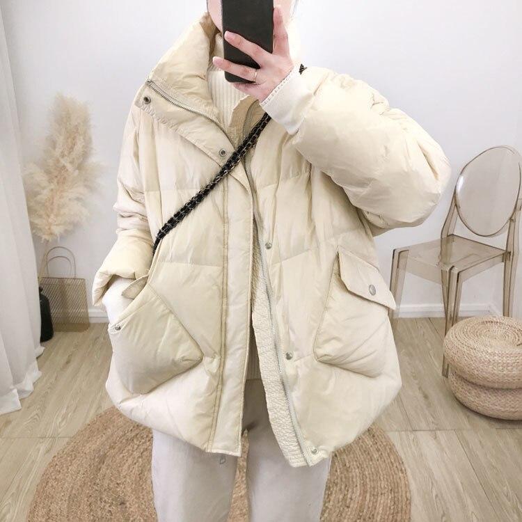 sólida grosso quente solto puffer para baixo jaqueta yr95