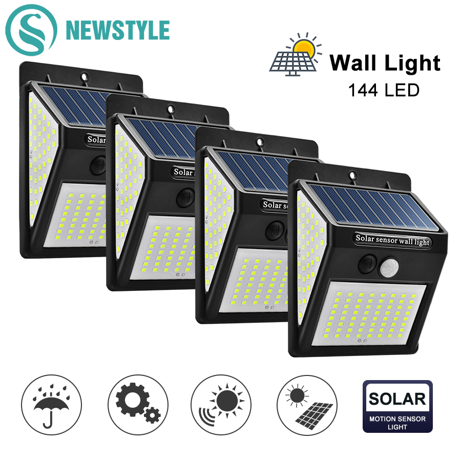 144 LED Outdoor Solar Wall Lamp 3 Modes PIR Motion Sensor Waterproof Light Garden Path Emergency Security Light 3 Sided Luminous