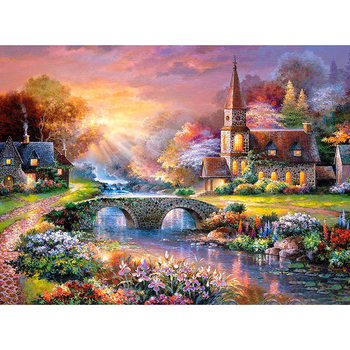 New 5D DIY Daimond Painting Cross stitch landscape village 3D Diamond Embroidery Full Square/Round Rhinestones decoration M1011 image