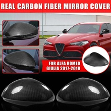 Real Carbon Fiber 2pcs Car Rear View Side Mirror Cover Cap Case For Alfa For Rom