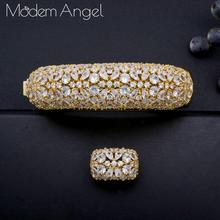 ModemAngel trendy Geometric square Bangle Ring Set For Women Accessories Full Cubic Zirconia Jewelry Sets