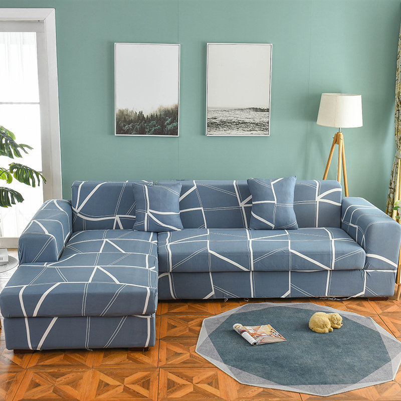 Image 3 - Sofa Covers for Living Room 1/2 Pieces Geometric  Plaid Sectional Couch Cover Set Stretch Sofa Slipcover 1/2/3/4 SeaterSofa Cover   -