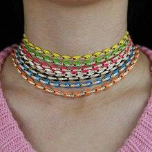 2021 nouveau Design de bijoux à la mode pour femmes 7 couleurs bonbon néon émail café chaîne à maillons perlés arc-en-ciel collier ras du cou 32 + 10cm
