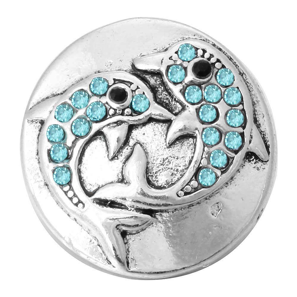5 sztuk/partia nowy zwierząt delfin zatrzaski przyciski biżuteria Rhinestone metalowe zatrzaski Fit 18mm Snap bransoletka Bangle kobiety