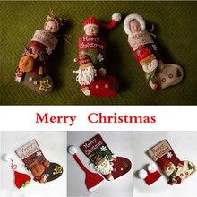 Большие рождественские носки для новорожденных; реквизит для фотосъемки; Одежда для мальчиков и девочек; комплект с шапкой и комбинезоном; одежда для фотосессии; Jumsuit