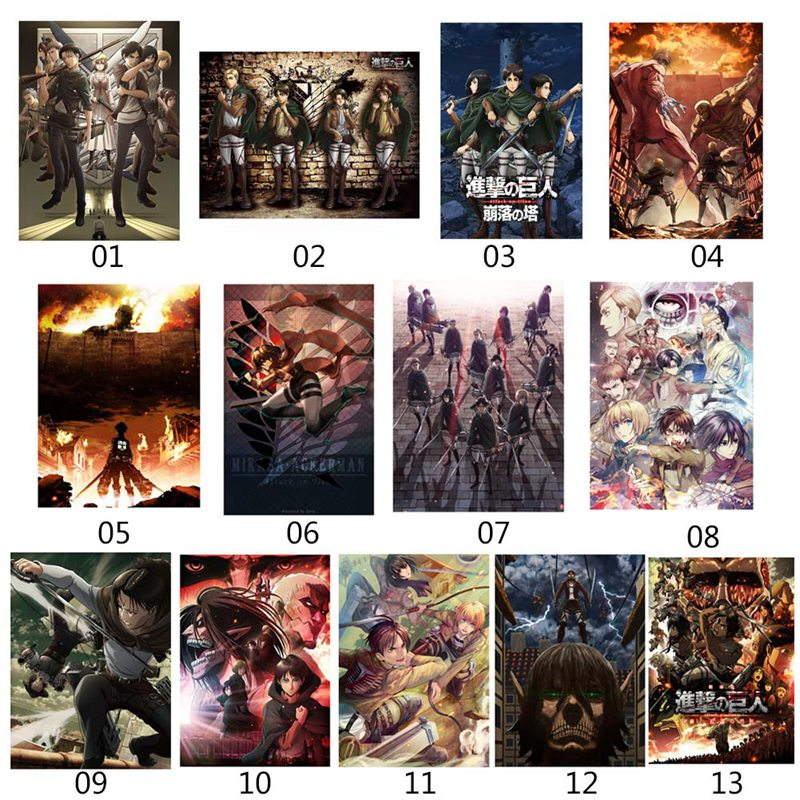 Japanese Anime Attack On Titan Posters Paper Prints Clear Image Room Bar Home Art Painting Wall Sticker