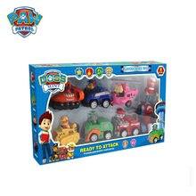 Pata patrulha canina caixa original brinquedo conjunto anime figura filhote de cachorro patrulha carro plástico móvel boneca crianças brinquedos presente aniversário