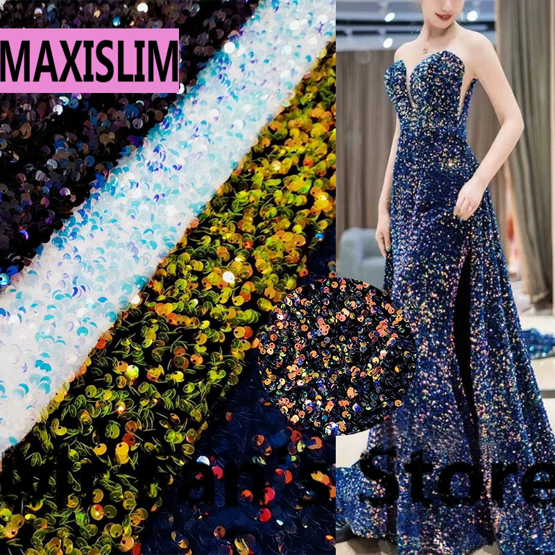 DIY 5MM High Quality Foam Show Sequin Fabric Velvet Bottom For Shows And Other Important Occasions 130CM Wide Free Shipping